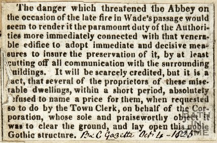 Fire which threatened the Abbey October 4th 1825