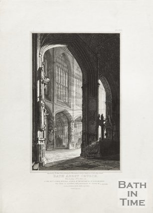 Engraving Bath Abbey Church View Looking South West of the Nave January 1st 1820