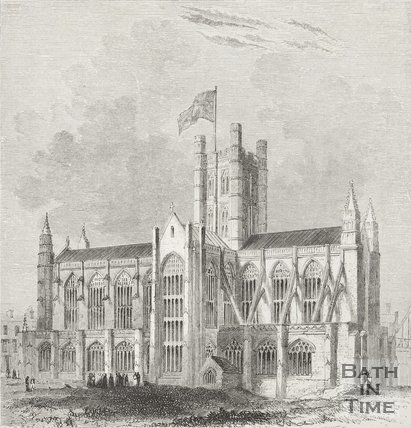 Engraving Bath Abbey South East View 1843