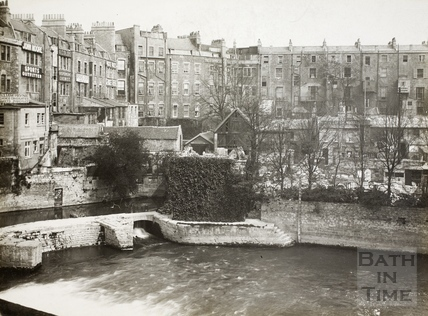 Weir below Pulteney Bridge from Grand Parade, Bath c.1920