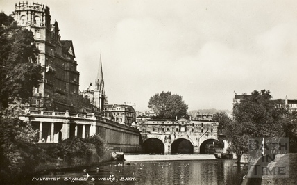 Pulteney Bridge and weir, Bath 1915