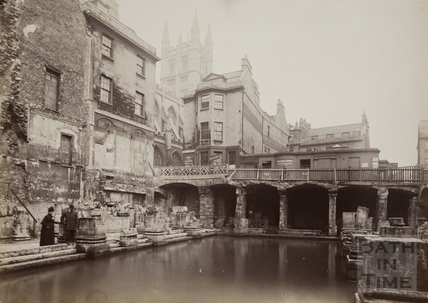 The Great Bath, Roman Baths, Bath c.1880