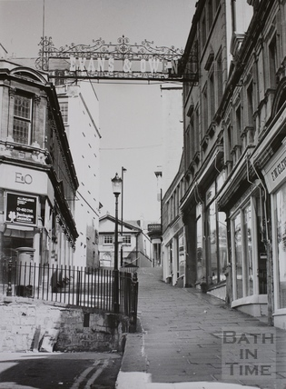 Evans & Owen shop sign, Bartlett Street, Bath 1975
