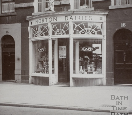Norton Dairy shop front, 16, Argyle Street, Bath c.1900