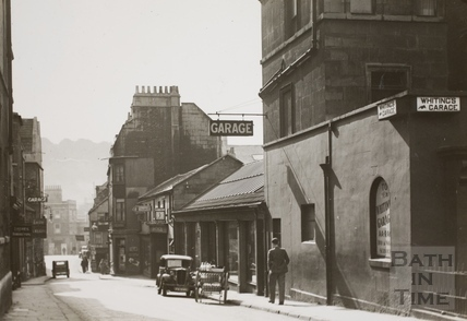 Barton Street and Whiting's Garage from Queen Square, Bath 1937