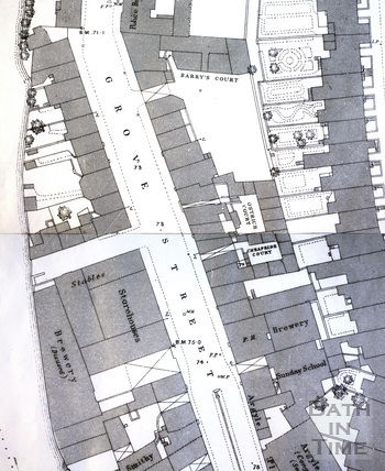 Henrietta Street area, Bath 1:500 OS map 1886 - detail