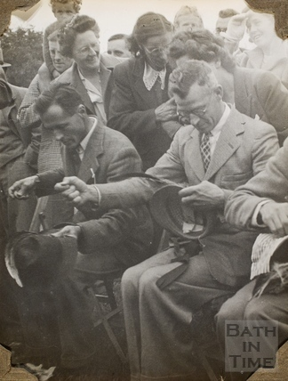 Men hat sewing, Charlton Park, Keynsham? 1945