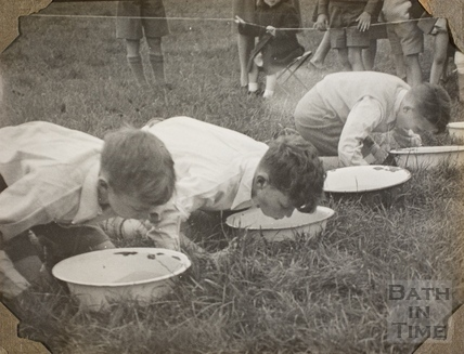 Boys apple bobbing, Charlton Park, Keynsham 1945