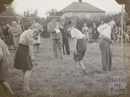Sack race, Charlton Park, Keynsham 1945