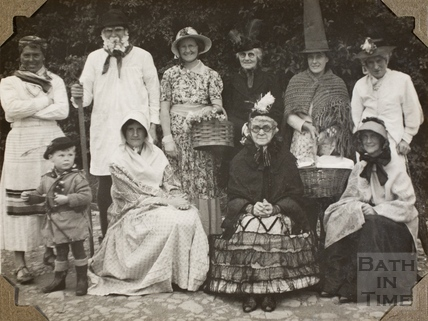 Adults fancy dress, Charlton Park, Keynsham 1945
