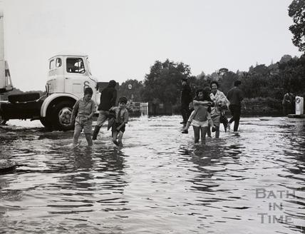 Fiveways, Batheaston in flood 1968