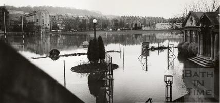 Floods at the Recreation Ground, Bath 1968