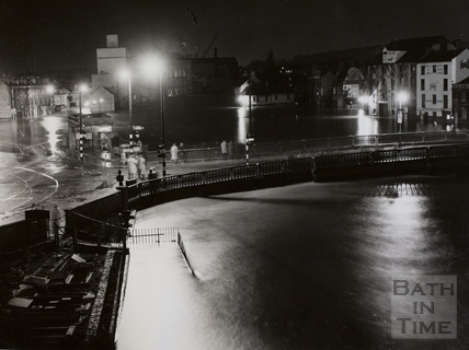 Floods at the Old Bridge and River Avon, Bath 1960