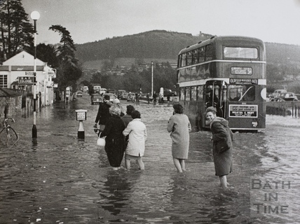 Fiveways, Batheaston in flood 1960