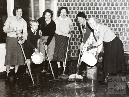 Mopping up the flood damage, Bath 1960