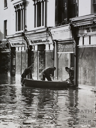Floods in Southgate Street, Bath 1960
