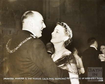 Princess Marina and The Mayor (Alderman Major Hopkins) at the.re-opening of the Assembly Rooms, Bath 1938