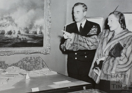 Lord and Lady Mountbatten at the Nelson Exhibition, Victoria Art Gallery, Bath