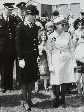 Princess Anne on a visit to St. John's Ambulance, Bath 1984
