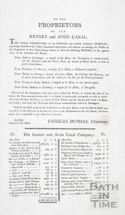 Notice to the Proprietors of the Kennet and Avon Canal from Charles Dundas 1803