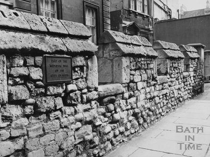 Medieval wall, Upper Borough Walls, Bath 1976