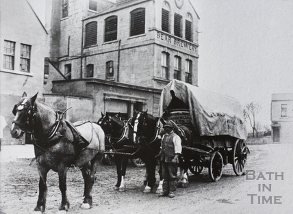 Local delivery wagon passing the Bear Brewery, Bloomfield Terrace, Wells Road, Bath c.1900
