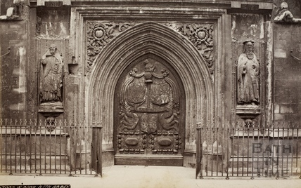 The west door of Bath Abbey, Bath 1874