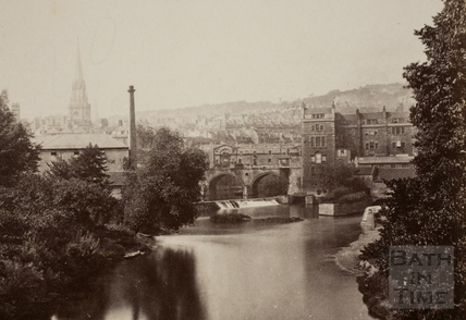 Pulteney Bridge from North Parade Bridge, Bath 1876 - detail