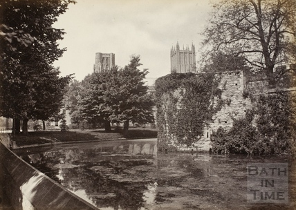 The moat surrounding the Bishop's Palace, Wells c.1870-1890