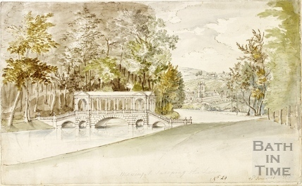 View of the Palladian Bridge at Prior Park, towards Widcombe, Bath 1758