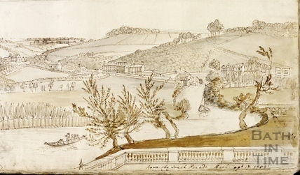 View from South Parade towards Ralph Allen's Wharf, Bath 1759