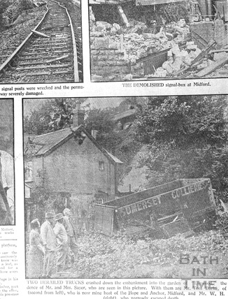 Derailed railway wagon at Midford 1936