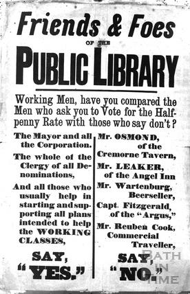 Bath Public Library controversy poster c.1875