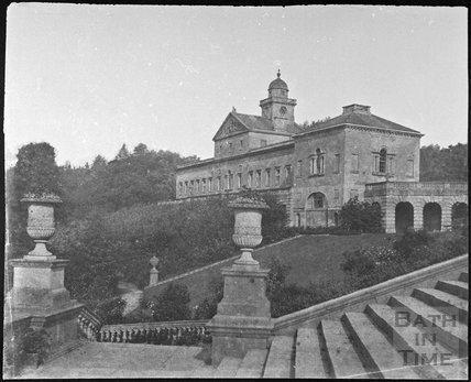 Prior Park mansion steps with east range, Bath 1856