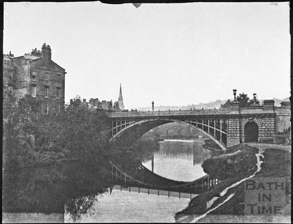 North Parade Bridge with Pulteney Bridge in the background, Bath 1857