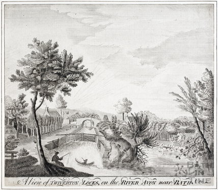 A view of Twiverton (Twerton) Locks on the River Avon near Bath c.1740