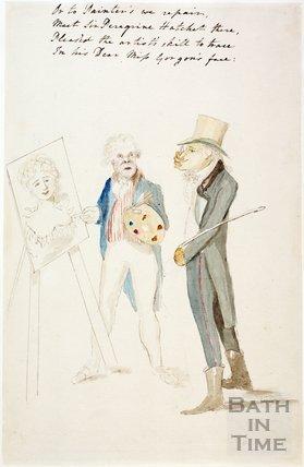 Watercolour sketch for Anstey's Bath Guide No. 17 c.1815