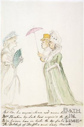 Watercolour sketch for Anstey's Bath Guide No. 20 c.1815
