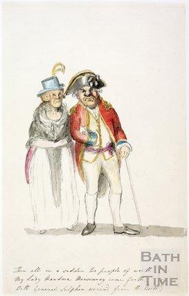 Watercolour sketch for Anstey's Bath Guide No. 13 c.1815