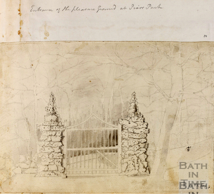 The Chinese Gates and entrance to Prior Park gardens, Bath c.1740-1770