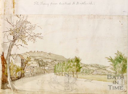 View across the River Avon towards Bathwick, Bath c.1740-1770