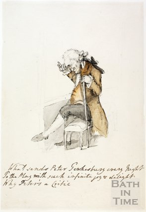 Watercolour sketch for Anstey's Bath Guide No. 23 c.1815