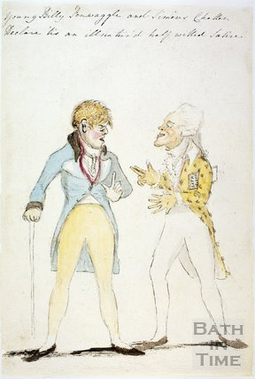 Watercolour sketch for Anstey's Bath Guide No. 38 c.1815