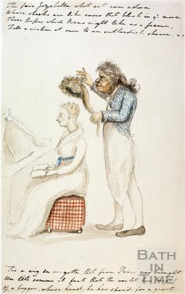 Watercolour sketch for Anstey's Bath Guide No. 35 c.1815
