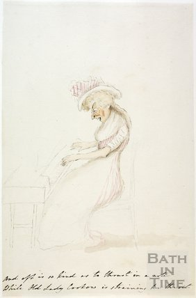 Watercolour sketch for Anstey's Bath Guide No. 25 c.1815