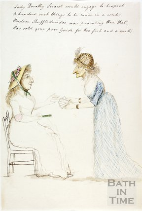 Watercolour sketch for Anstey's Bath Guide No. 52 c.1815