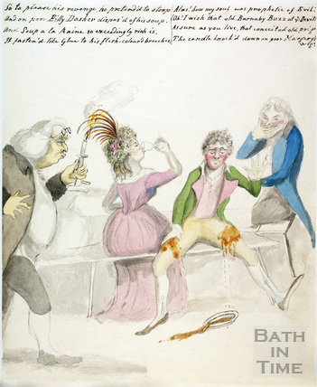 Watercolour sketch for Anstey's Bath Guide No. 63 c.1815