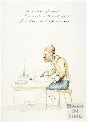 Watercolour sketch for Anstey's Bath Guide No. 51 c.1815