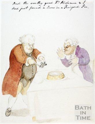 Watercolour sketch for Anstey's Bath Guide No. 54 c.1815