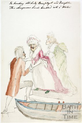 Watercolour sketch for Anstey's Bath Guide No. 48 c.1815